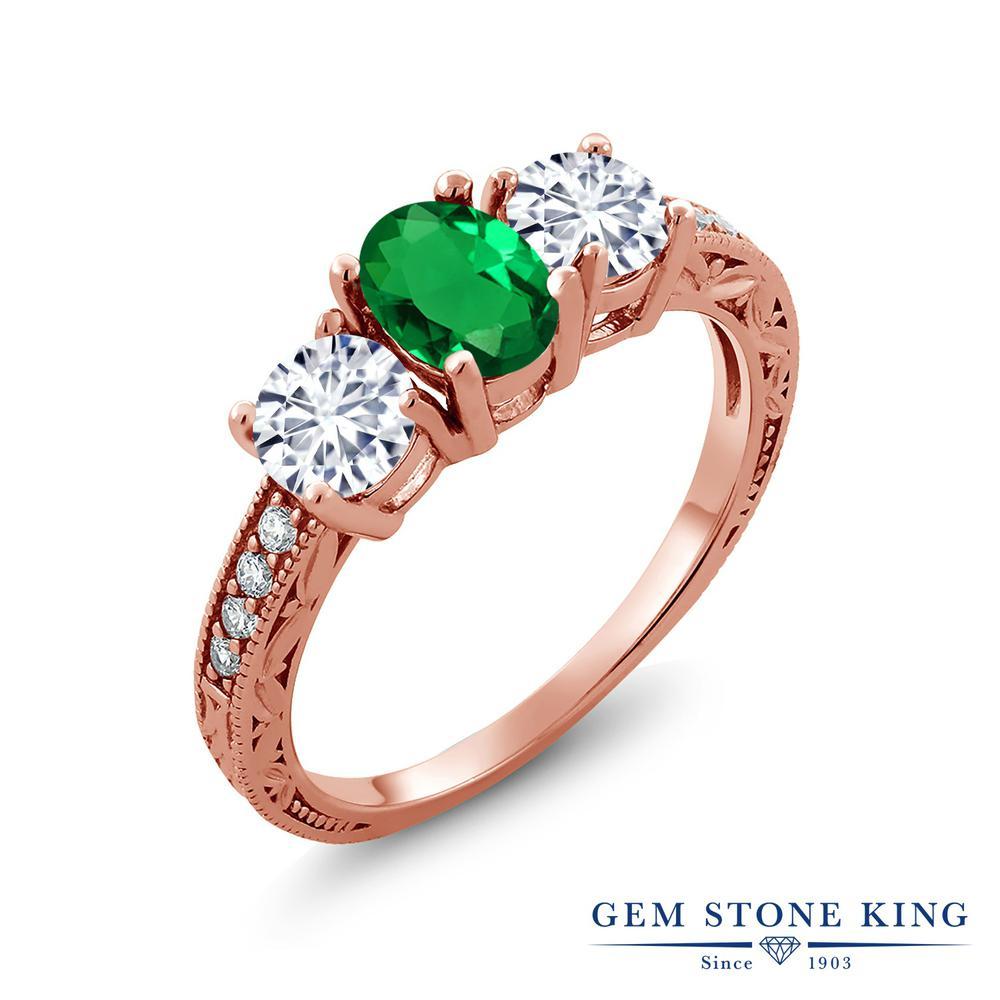 【クーポンで10%OFF】 Gem Stone King 1.72カラット ナノエメラルド モアッサナイト Charles & Colvard シルバー925 ピンクゴールドコーティング 指輪 リング レディース スリーストーン 金属アレルギー対応 誕生日プレゼント