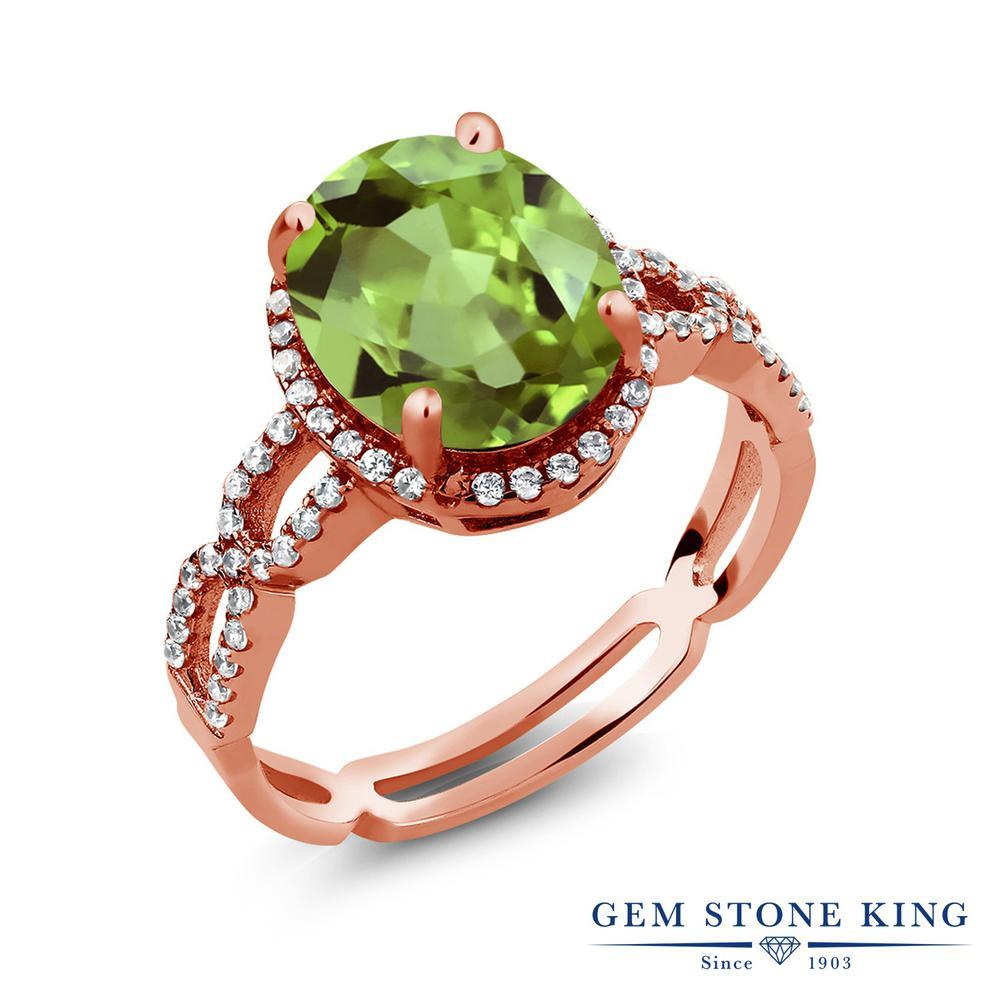 Gem Stone King 3.55カラット 天然石 ペリドット 合成ホワイトサファイア (ダイヤのような無色透明) シルバー925 ピンクゴールドコーティング 指輪 リング レディース 大粒 大ぶり カクテル 天然石 8月 誕生石 金属アレルギー対応 誕生日プレゼント
