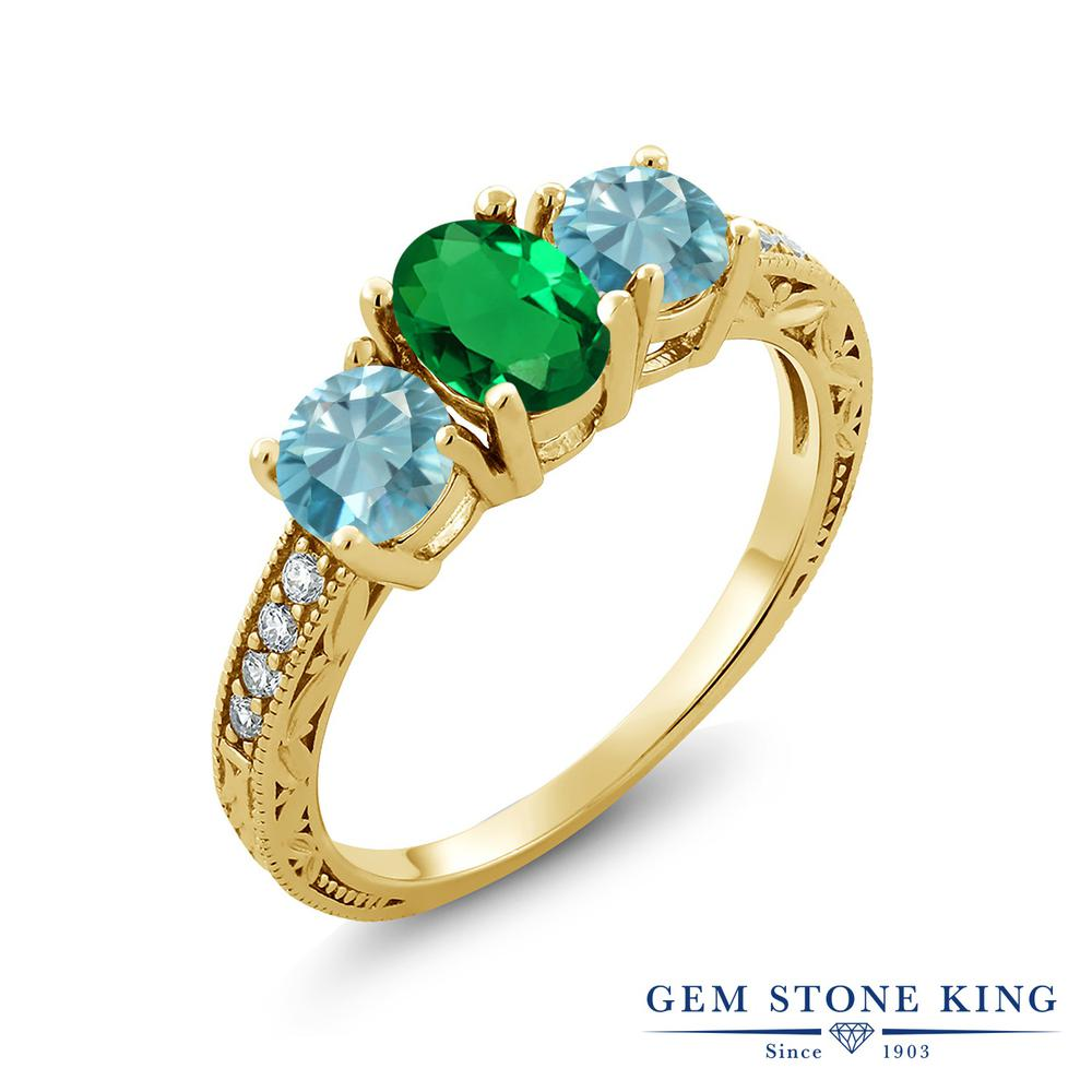 Gem Stone King 2.42カラット ナノエメラルド 天然石 ジルコン(ブルー) シルバー 925 イエローゴールドコーティング 指輪 リング レディース スリーストーン 金属アレルギー対応 誕生日プレゼント