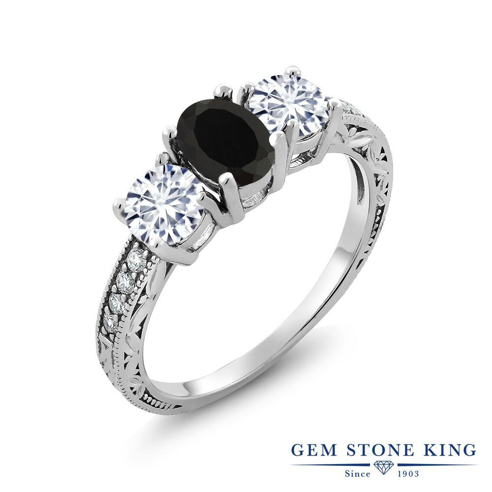 【クーポンで10%OFF】 Gem Stone King 1.82カラット 天然 オニキス モアッサナイト Charles & Colvard シルバー925 指輪 リング レディース スリーストーン 天然石 8月 誕生石 金属アレルギー対応 誕生日プレゼント