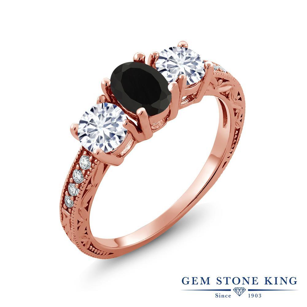 【クーポンで10%OFF】 Gem Stone King 1.82カラット 天然 オニキス モアッサナイト Charles & Colvard シルバー925 ピンクゴールドコーティング 指輪 リング レディース スリーストーン 天然石 8月 誕生石 金属アレルギー対応 誕生日プレゼント
