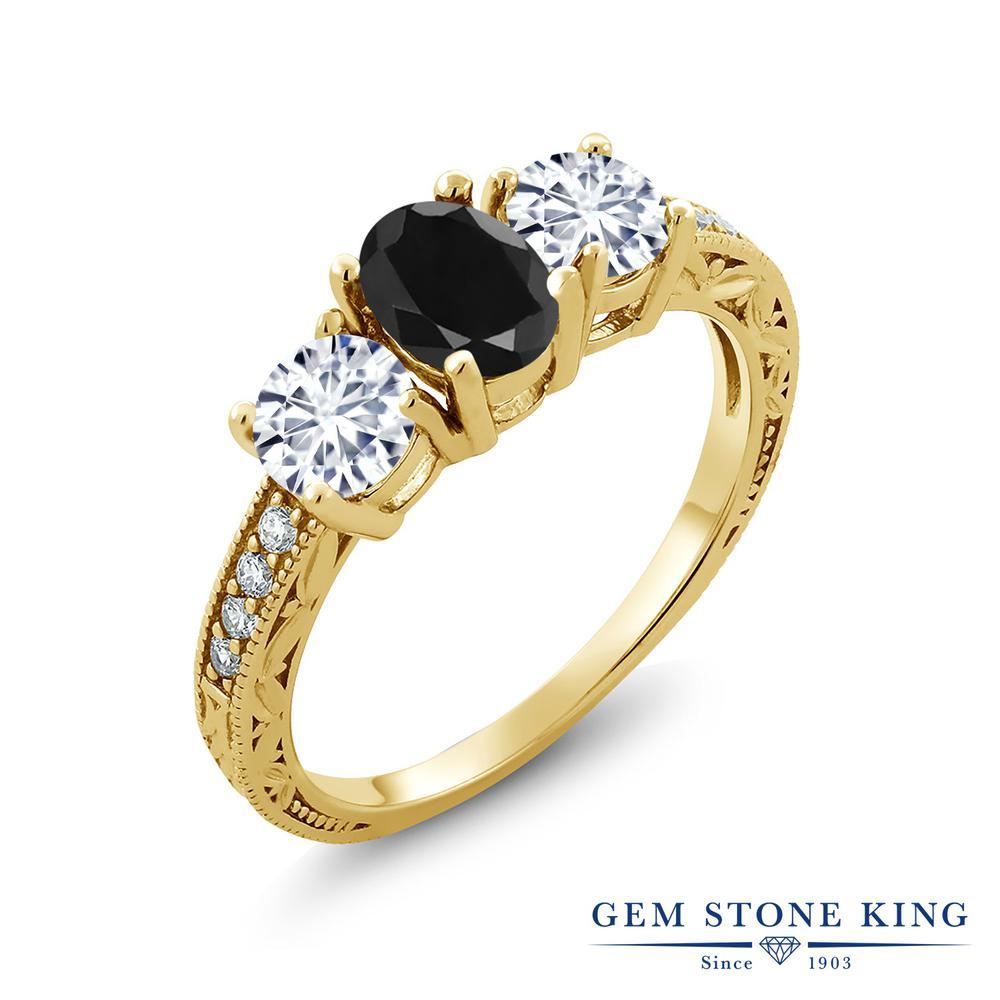 【クーポンで10%OFF】 Gem Stone King 2.19カラット 天然 ブラックサファイア モアッサナイト Charles & Colvard シルバー925 イエローゴールドコーティング 指輪 リング レディース 大粒 スリーストーン 天然石 9月 誕生石 金属アレルギー対応 誕生日プレゼント