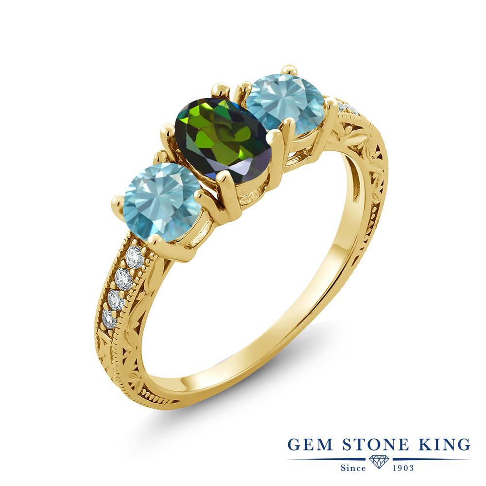 Gem Stone King 2.62カラット 天然ミスティックトパーズ(トルマリングリーン) 天然石 ジルコン(ブルー) シルバー 925 イエローゴールドコーティング 指輪 リング レディース スリーストーン 天然石 金属アレルギー対応 誕生日プレゼント