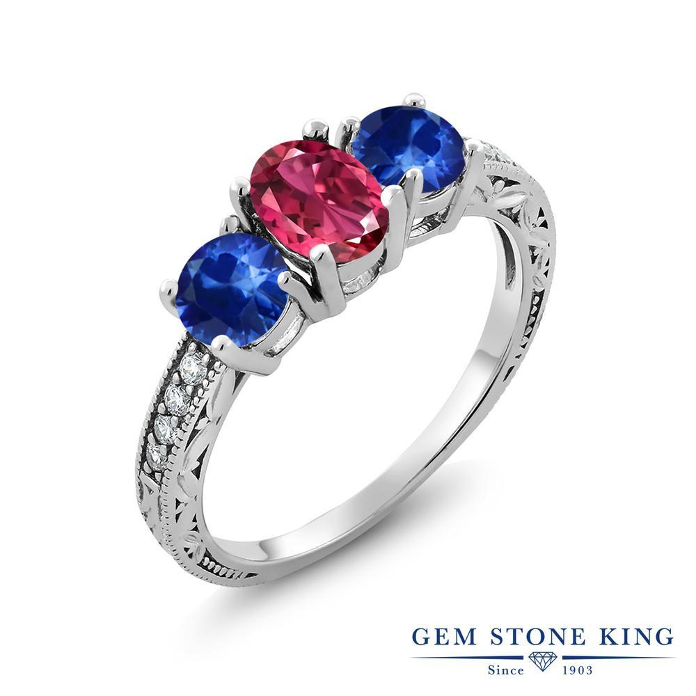 Gem Stone King 2.02カラット 天然 ピンクトルマリン 天然 サファイア シルバー925 指輪 リング レディース スリーストーン 天然石 10月 誕生石 金属アレルギー対応 誕生日プレゼント