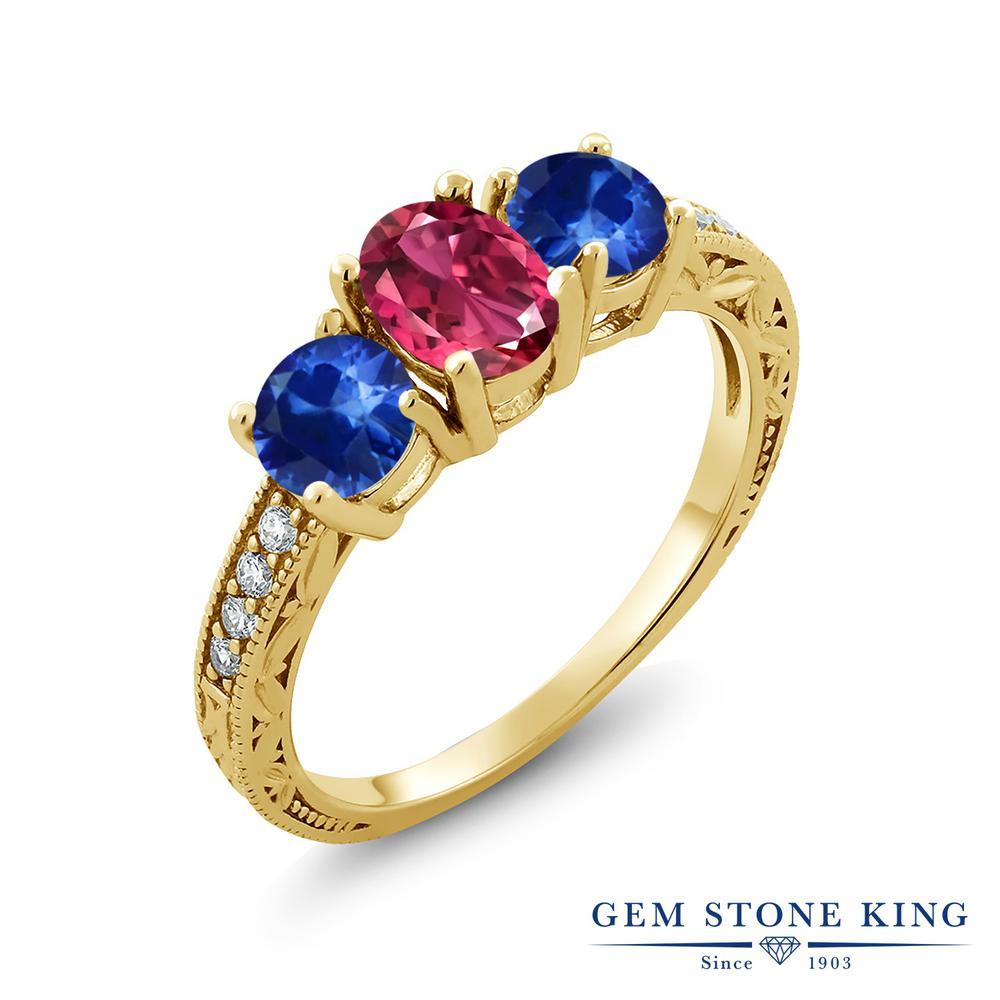【10%OFF】 Gem Stone King 2.02カラット 天然 ピンクトルマリン サファイア 指輪 リング レディース シルバー925 イエローゴールド 加工 スリーストーン 天然石 10月 誕生石 クリスマスプレゼント 女性 彼女 妻 誕生日
