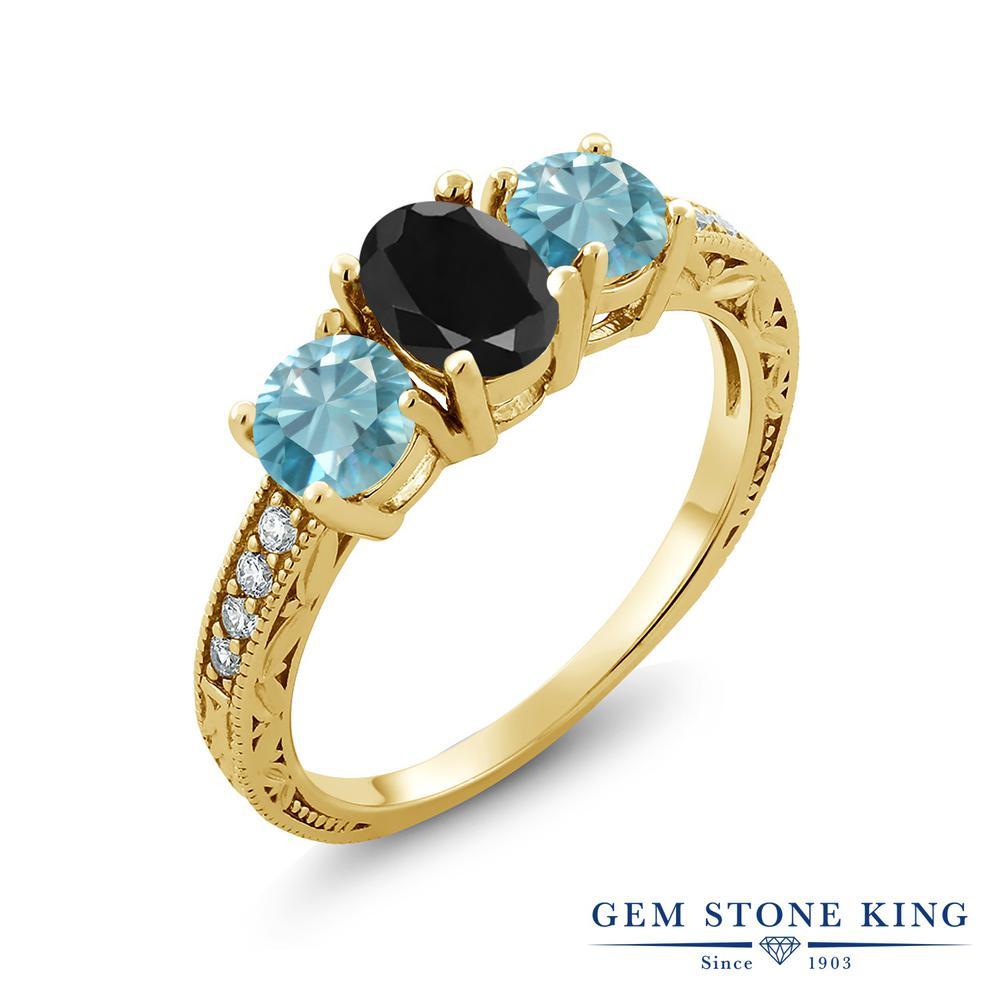 Gem Stone King 2.89カラット 天然サファイア(ブラック) 天然石 ジルコン(ブルー) シルバー 925 イエローゴールドコーティング 指輪 リング レディース 大粒 スリーストーン 天然石 誕生石 金属アレルギー対応 誕生日プレゼント