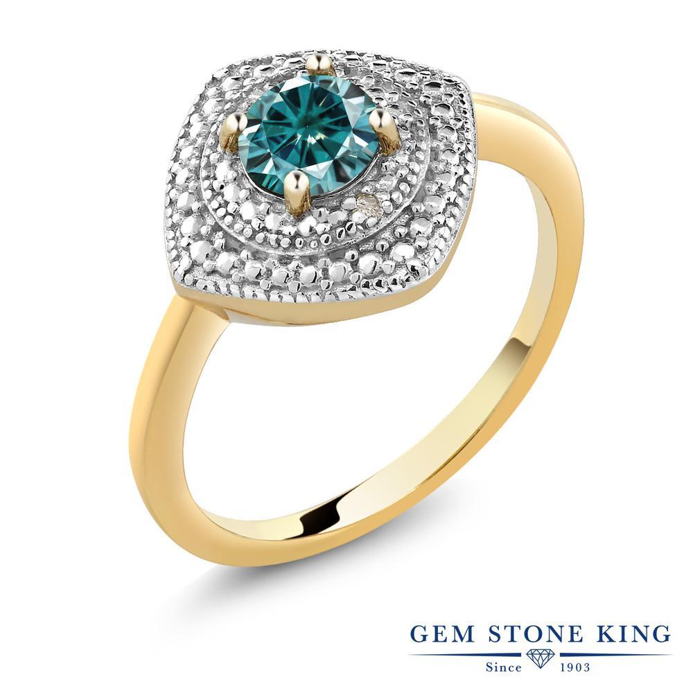 【10%OFF】 Gem Stone King 0.5カラット ブルー モアッサナイト Charles & Colvard シルバー 925 イエローゴールドコーティング 指輪 リング レディース モアサナイト 小粒 一粒 シンプル ヘイロー 金属アレルギー対応 誕生日プレゼント