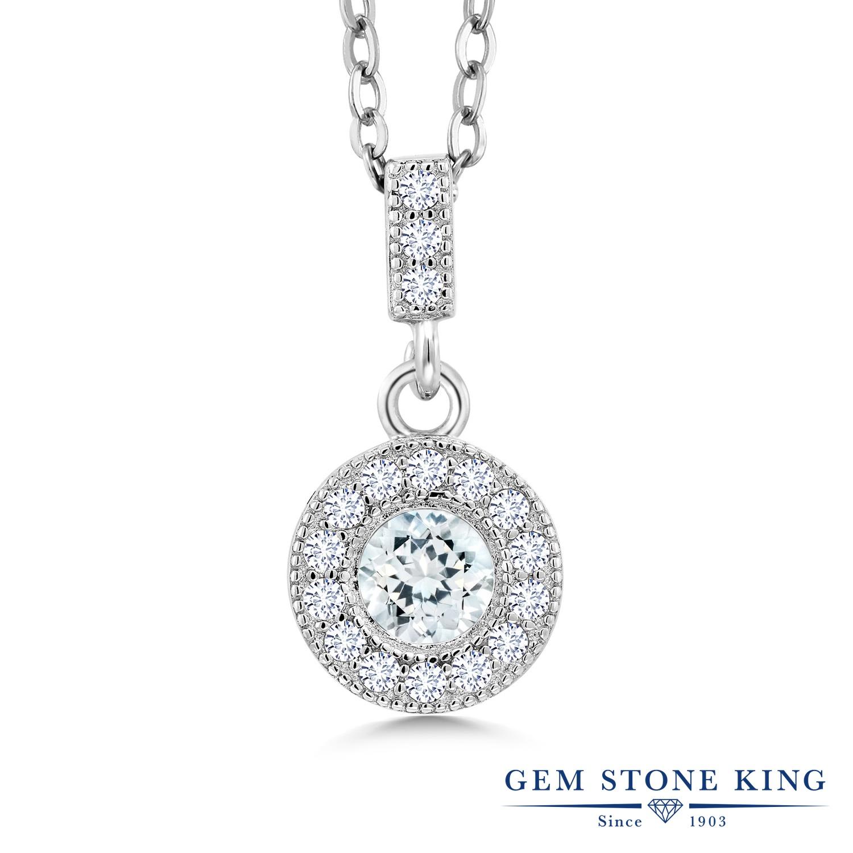 Gem Stone King 1.01カラット 天然 アクアマリン 合成ダイヤモンド シルバー925 ネックレス ペンダント レディース 天然石 3月 誕生石 金属アレルギー対応 誕生日プレゼント
