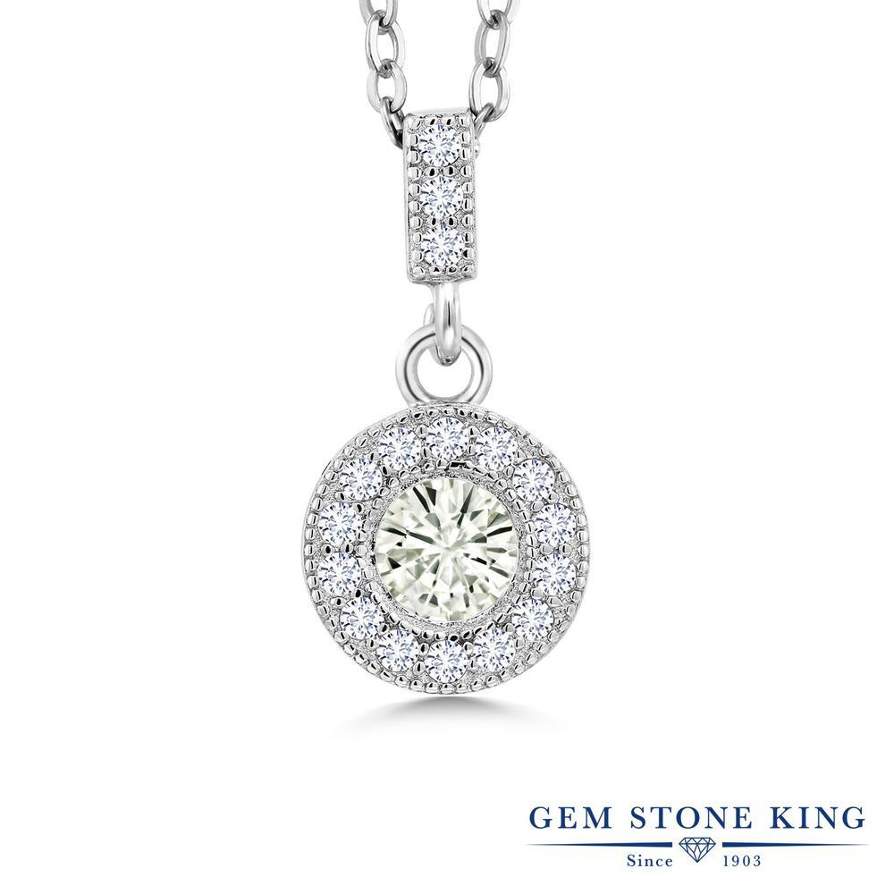 Gem Stone King 1.06カラット Forever Classic モアサナイト Charles & Colvard 合成ダイヤモンド シルバー925 ネックレス ペンダント レディース モアッサナイト 金属アレルギー対応 誕生日プレゼント