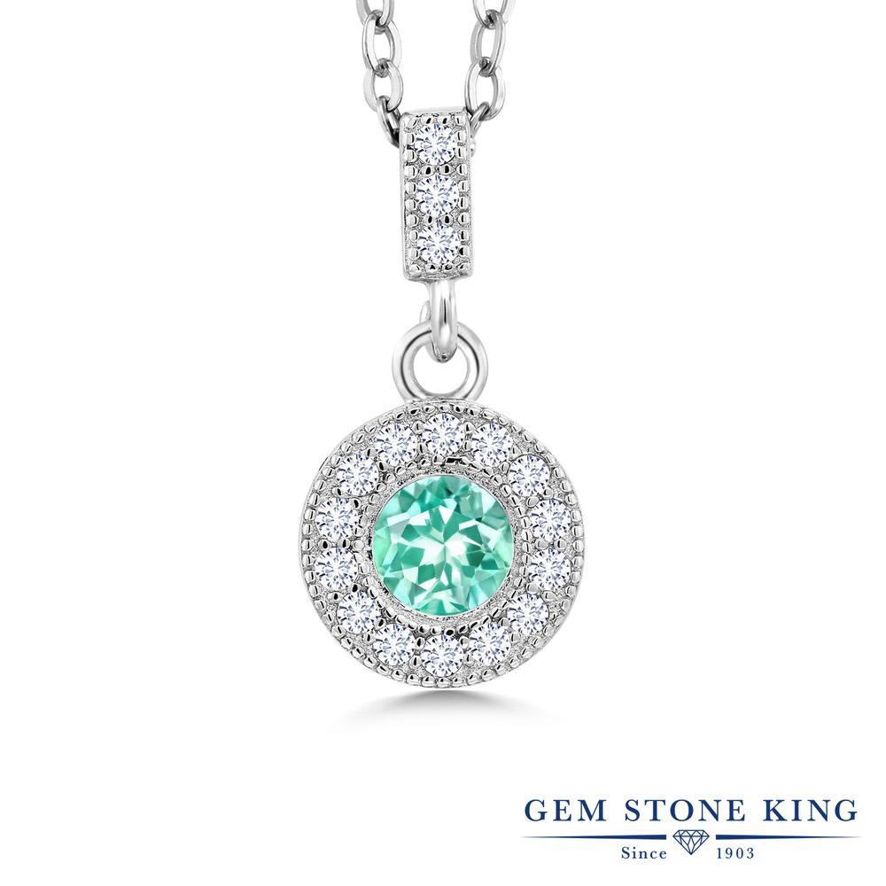Gem Stone King 1.07カラット 天然 アパタイト 合成ダイヤモンド シルバー925 ネックレス ペンダント レディース 天然石 金属アレルギー対応 誕生日プレゼント