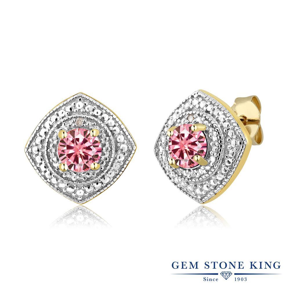 Gem Stone King 1カラット ピンク モアッサナイト Charles & Colvard シルバー925 イエローゴールドコーティング ピアス レディース モアサナイト 小粒 シンプル スタッド 金属アレルギー対応 誕生日プレゼント