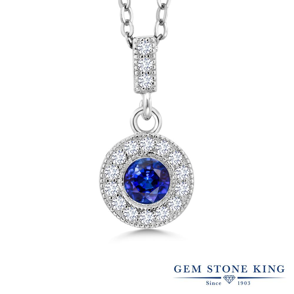 Gem Stone King 1.49カラット 天然 カイヤナイト (ブルー) 合成ダイヤモンド シルバー925 ネックレス ペンダント レディース 大粒 天然石 金属アレルギー対応 誕生日プレゼント