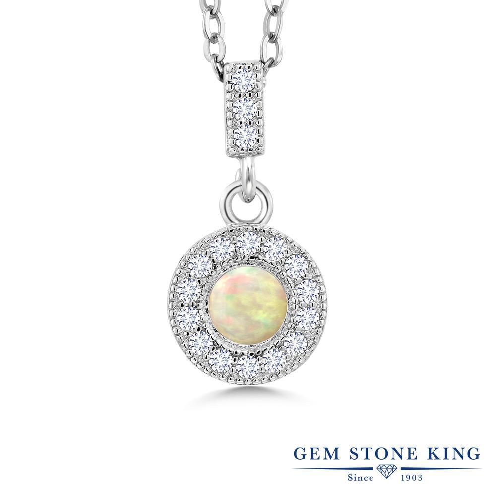 Gem Stone King 0.82カラット 天然 エチオピアンオパール 合成ダイヤモンド シルバー925 ネックレス ペンダント レディース 天然石 金属アレルギー対応 誕生日プレゼント