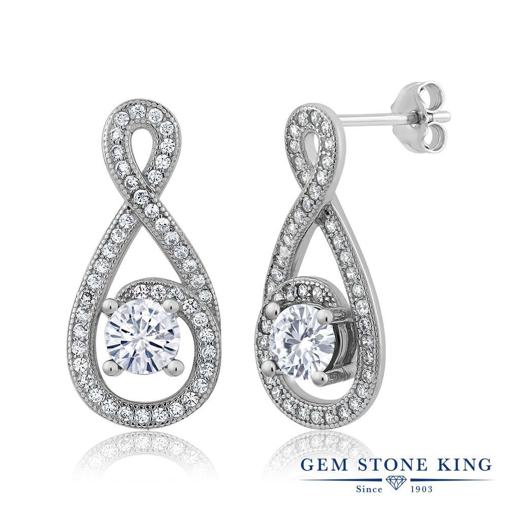 Gem Stone King 1.6カラット Forever Classic モアッサナイト Charles & Colvard シルバー925 ピアス レディース モアサナイト 小粒 ぶら下がり 金属アレルギー対応 誕生日プレゼント