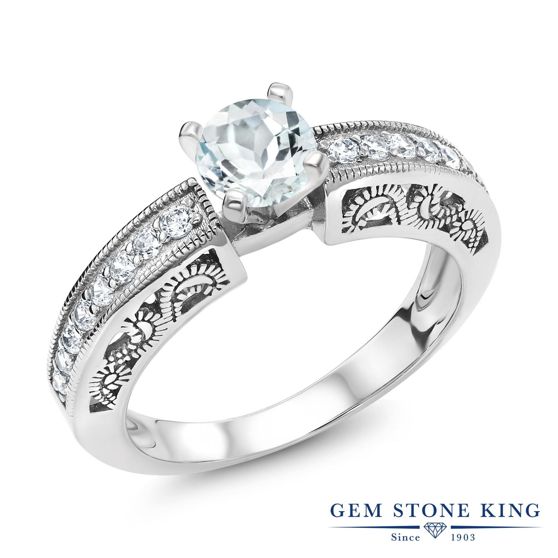 Gem Stone King 1.34カラット 天然 アクアマリン 指輪 リング レディース シルバー925 ソリティア 天然石 3月 誕生石 金属アレルギー対応
