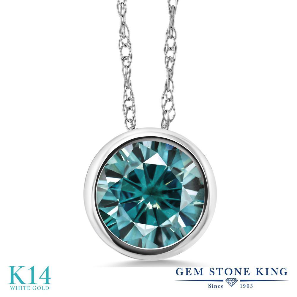 Gem Stone King 1カラット ブルー モアサナイト Charles & Colvard 14金 ホワイトゴールド(K14) ネックレス ペンダント レディース モアッサナイト 大粒 一粒 シンプル 金属アレルギー対応 誕生日プレゼント