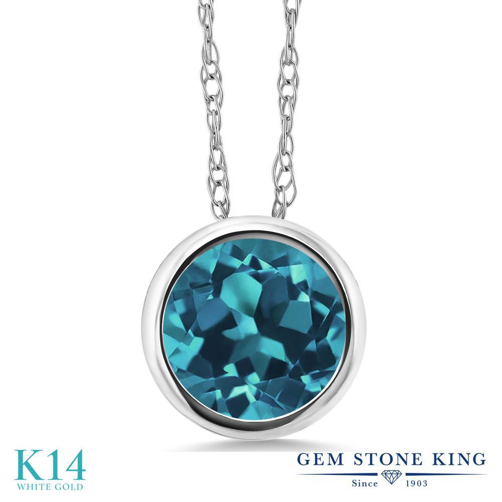 Gem Stone King 1.33カラット 天然 ロンドンブルートパーズ 14金 ホワイトゴールド(K14) ネックレス ペンダント レディース 大粒 一粒 シンプル 天然石 11月 誕生石 金属アレルギー対応 誕生日プレゼント