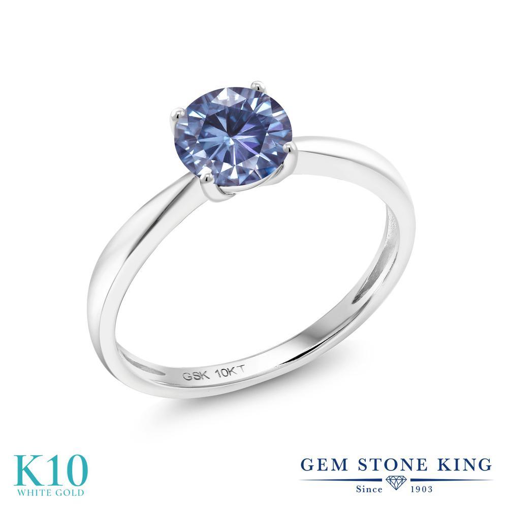 Gem Stone King 1カラット 10金 ホワイトゴールド(K10) 指輪 リング レディース モアッサナイト 大粒 一粒 シンプル ソリティア 金属アレルギー対応 誕生日プレゼント
