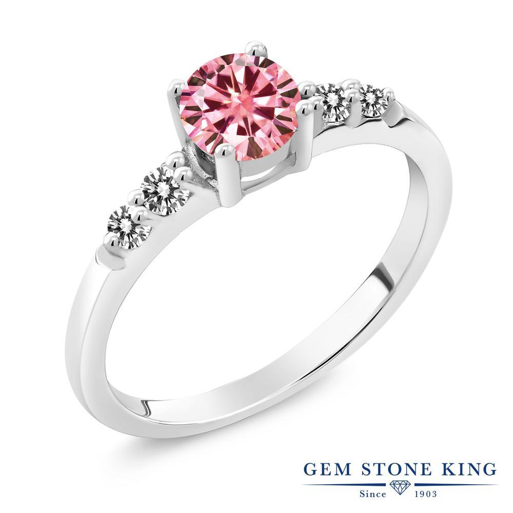 Gem Stone King 0.69カラット ピンク モアサナイト Charles & Colvard 天然 ダイヤモンド シルバー925 指輪 リング レディース モアッサナイト 小粒 マルチストーン 金属アレルギー対応 婚約指輪 エンゲージリング
