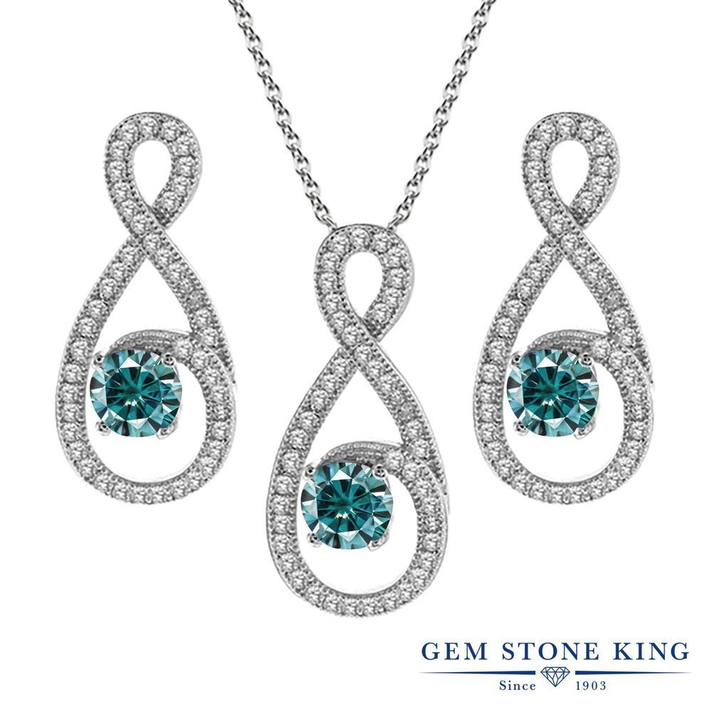 Gem Stone King 3.3カラット ブルー モアサナイト Charles & Colvard シルバー925 ペンダント&ピアスセット レディース モアッサナイト 小粒 大ぶり 金属アレルギー対応 誕生日プレゼント