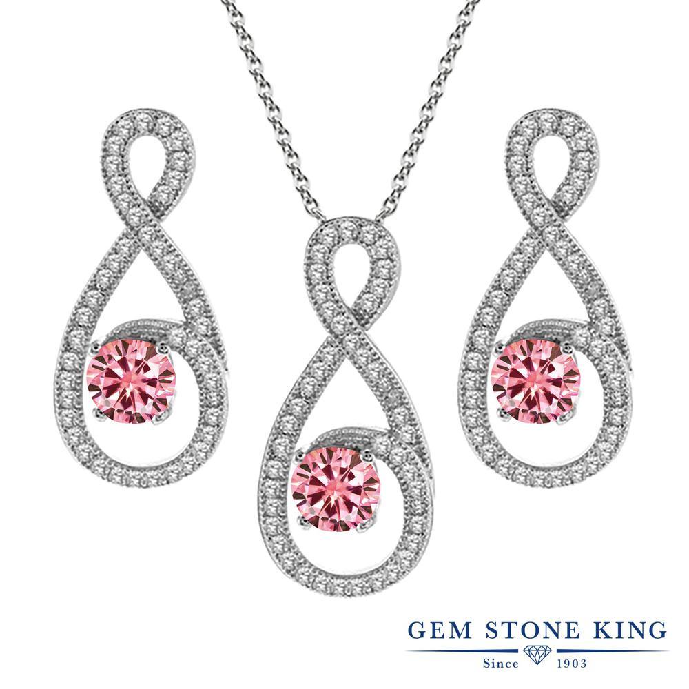 Gem Stone King 3.3カラット ピンク モアサナイト Charles & Colvard シルバー925 ペンダント&ピアスセット レディース モアッサナイト 小粒 大ぶり 金属アレルギー対応 誕生日プレゼント