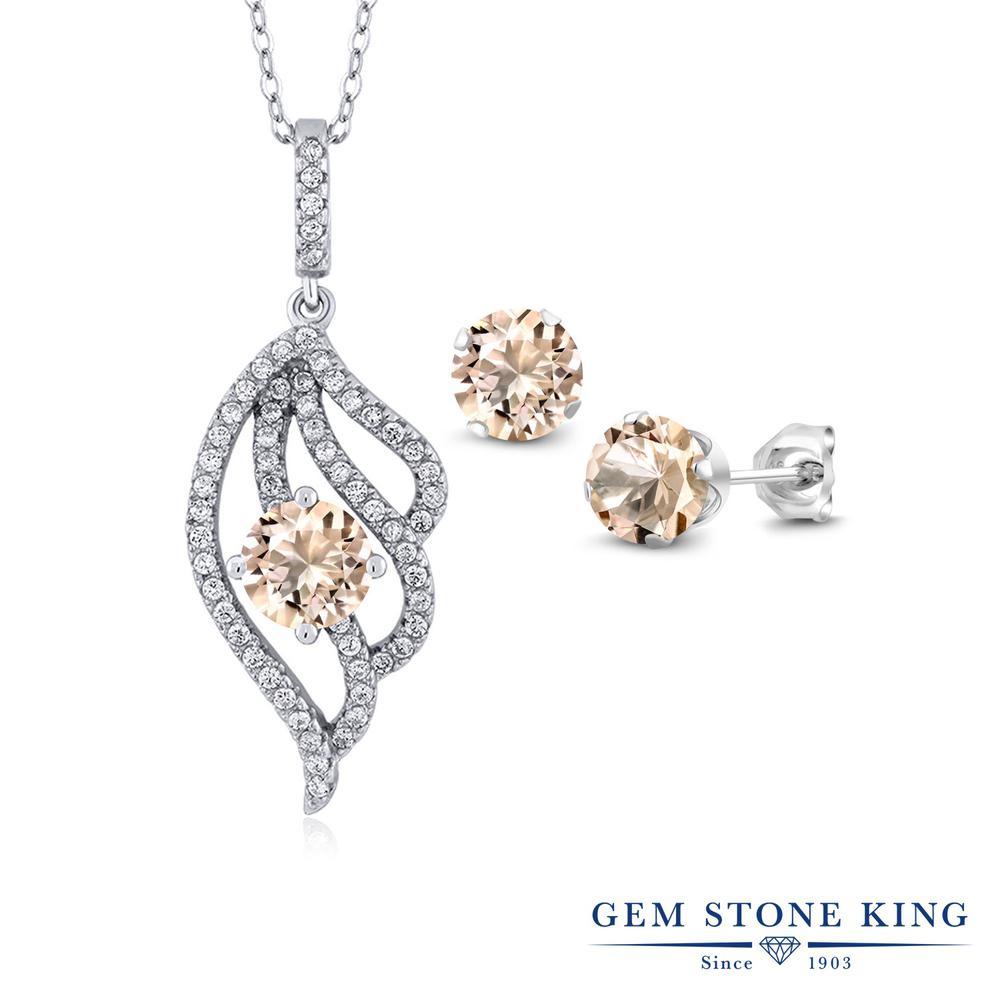 Gem Stone King 2.52カラット 天然 モルガナイト (ピーチ) シルバー925 ペンダント&ピアスセット レディース 天然石 3月 誕生石 金属アレルギー対応 誕生日プレゼント