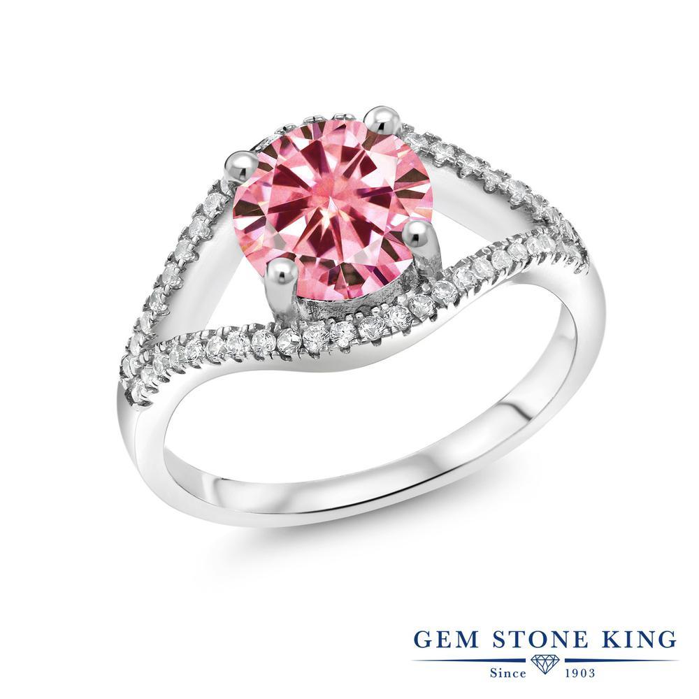 【10%OFF】 Gem Stone King 2.4カラット ピンク シルバー925 指輪 リング レディース モアサナイト 大粒 金属アレルギー対応 誕生日プレゼント