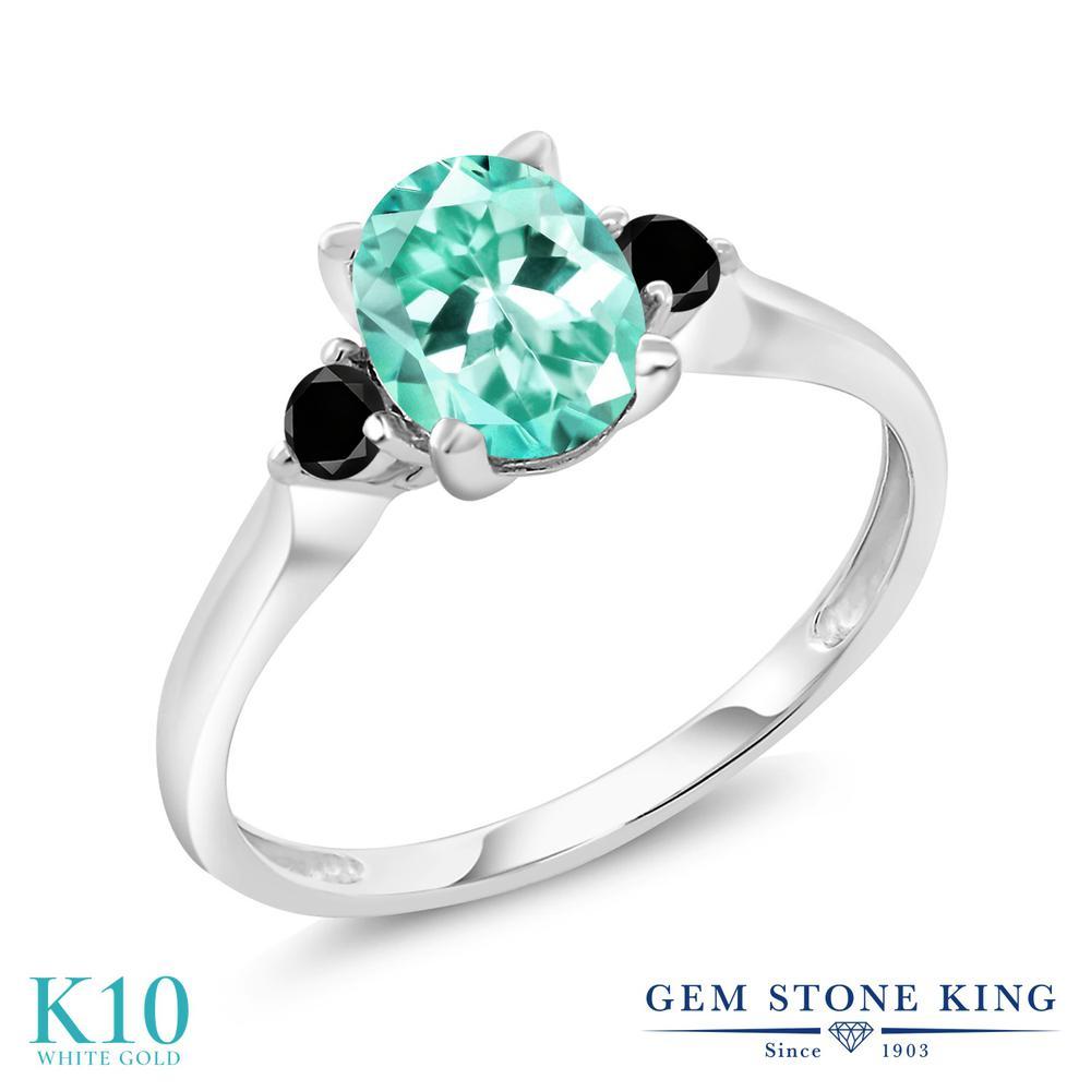 Gem Stone King 1.32カラット 天然アパタイト 10金 ホワイトゴールド(K10) 天然ブラックダイヤモンド 指輪 リング レディース 大粒 シンプル 天然石 誕生日プレゼント