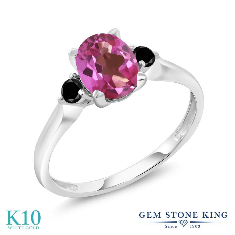 Gem Stone King 1.43カラット 天然 ミスティックトパーズ (ピンク) 天然ブラックダイヤモンド 10金 ホワイトゴールド(K10) 指輪 リング レディース 大粒 シンプル スリーストーン 天然石 金属アレルギー対応 誕生日プレゼント