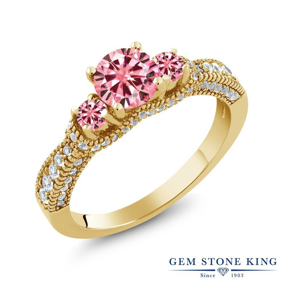 Gem Stone King 1.69カラット ピンク モアサナイト Charles & Colvard 指輪 リング レディース シルバー925 イエローゴールド 加工 モアッサナイト 小粒 金属アレルギー対応
