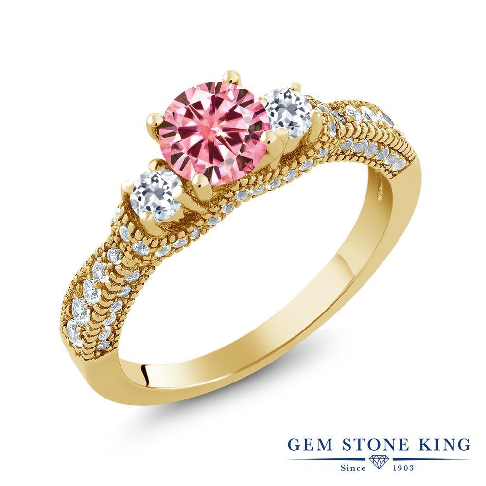 Gem Stone King 1.77カラット ピンク モアサナイト Charles & Colvard 天然 トパーズ 指輪 リング レディース シルバー925 イエローゴールド 加工 モアッサナイト 小粒 金属アレルギー対応
