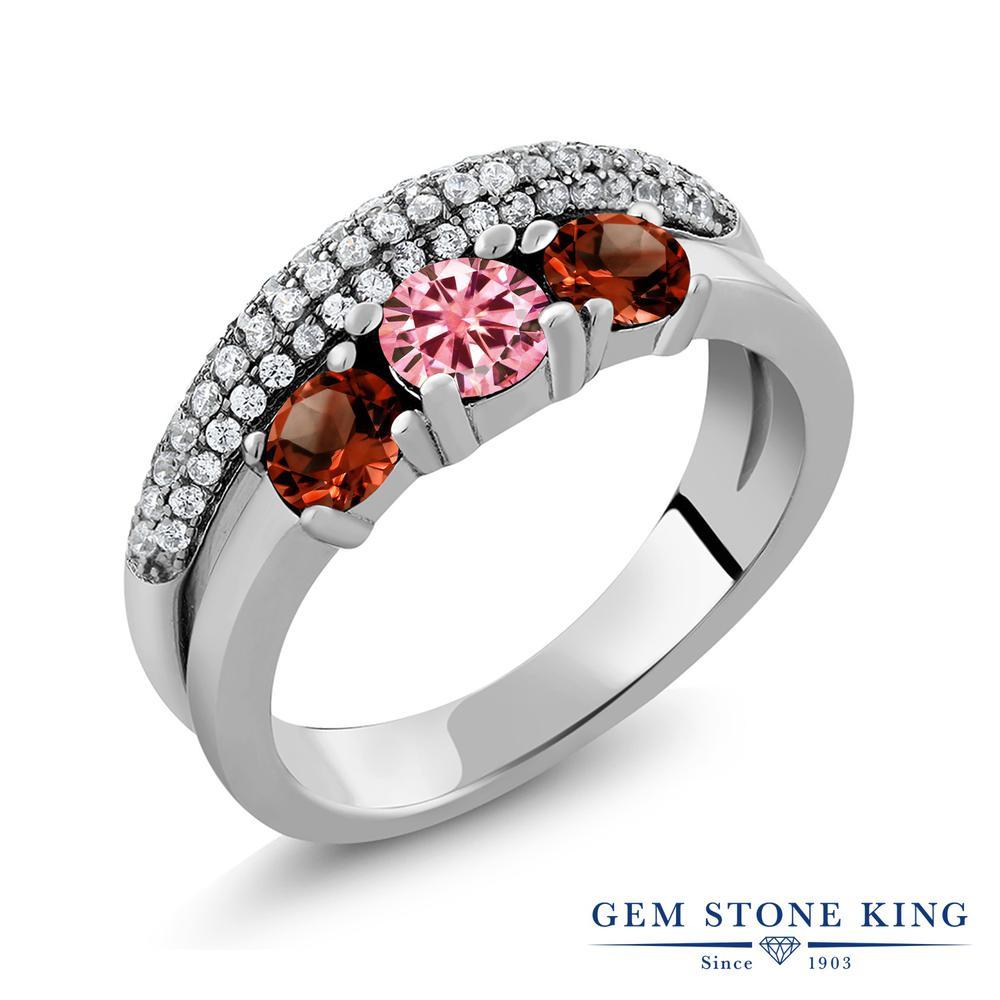 【10%OFF】 Gem Stone King 1.95カラット ピンク 天然ガーネット シルバー925 指輪 リング レディース モアサナイト 小粒 スリーストーン 金属アレルギー対応 誕生日プレゼント