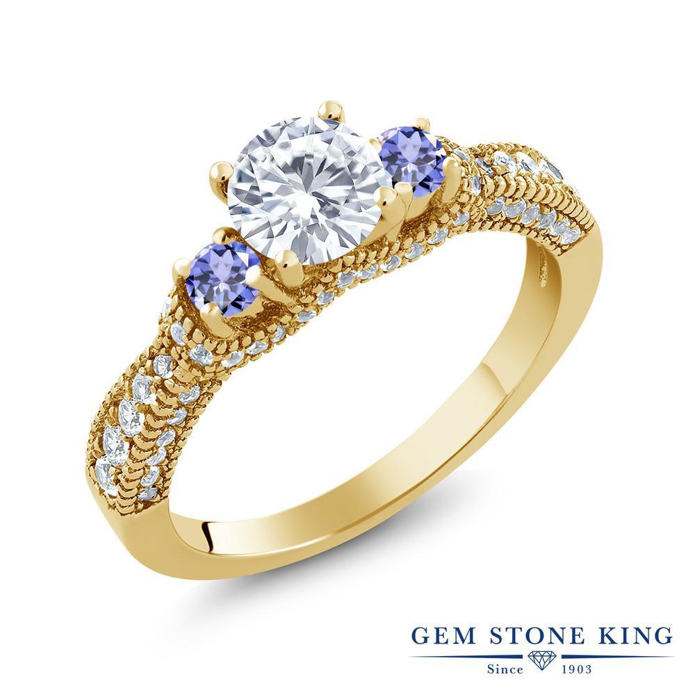 Gem Stone King 1.73カラット Forever Brilliant モアッサナイト Charles & Colvard 天然石 タンザナイト シルバー 925 イエローゴールドコーティング 指輪 リング レディース 小粒 誕生日プレゼント