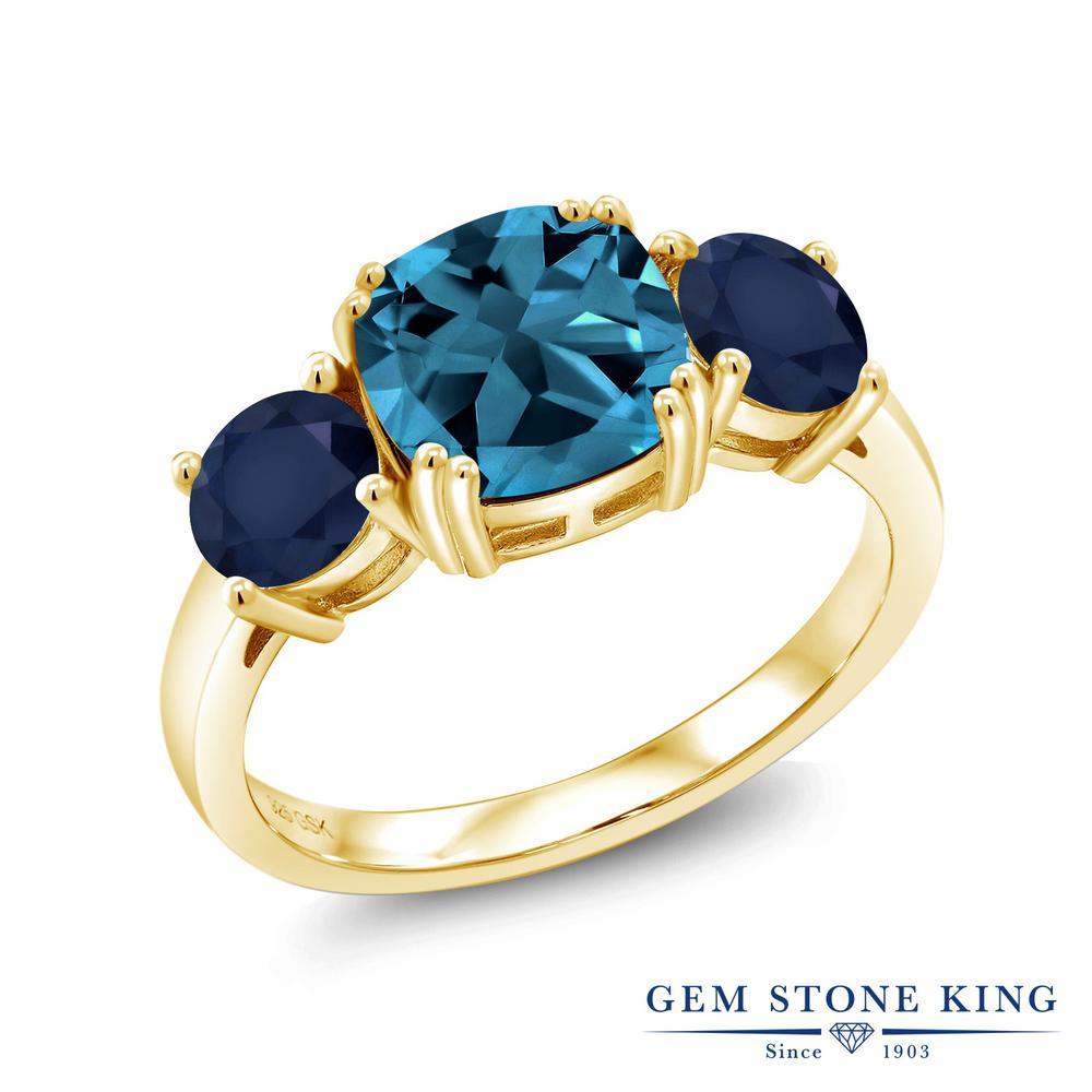 Gem Stone King 3.85カラット 天然 ロンドンブルートパーズ 天然 サファイア シルバー925 イエローゴールドコーティング 指輪 リング レディース 大粒 シンプル スリーストーン 天然石 11月 誕生石 金属アレルギー対応 誕生日プレゼント