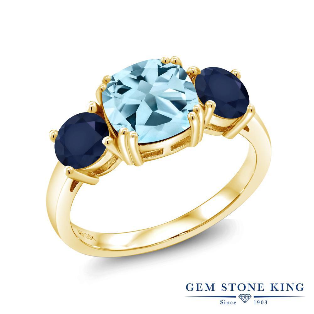 Gem Stone King 3.94カラット 天然 スカイブルートパーズ 天然 サファイア シルバー925 イエローゴールドコーティング 指輪 リング レディース 大粒 シンプル スリーストーン 天然石 11月 誕生石 金属アレルギー対応 誕生日プレゼント