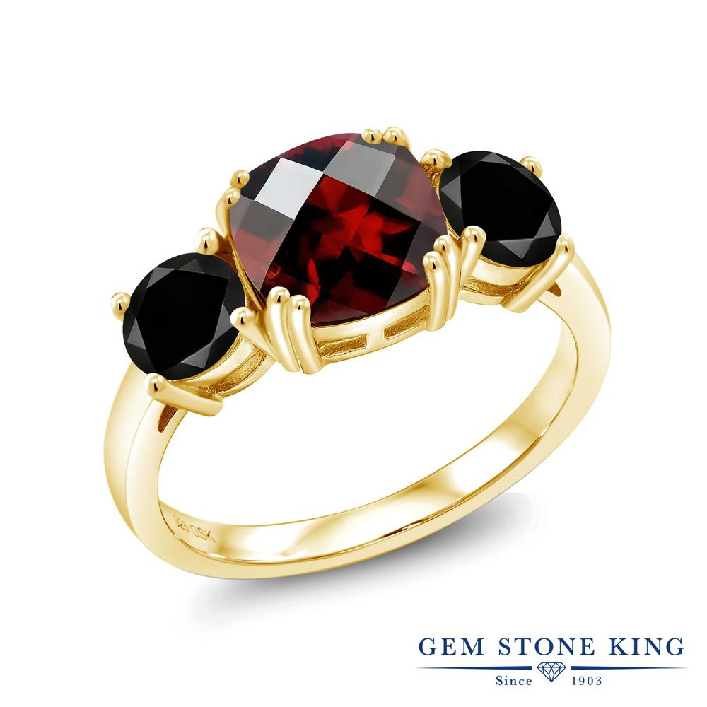 3.5カラット 天然 ガーネット ブラックダイヤモンド 指輪 リング レディース シルバー925 イエローゴールド 加工 大粒 シンプル スリーストーン 天然石 1月 誕生石 プレゼント 女性 彼女 妻 誕生日