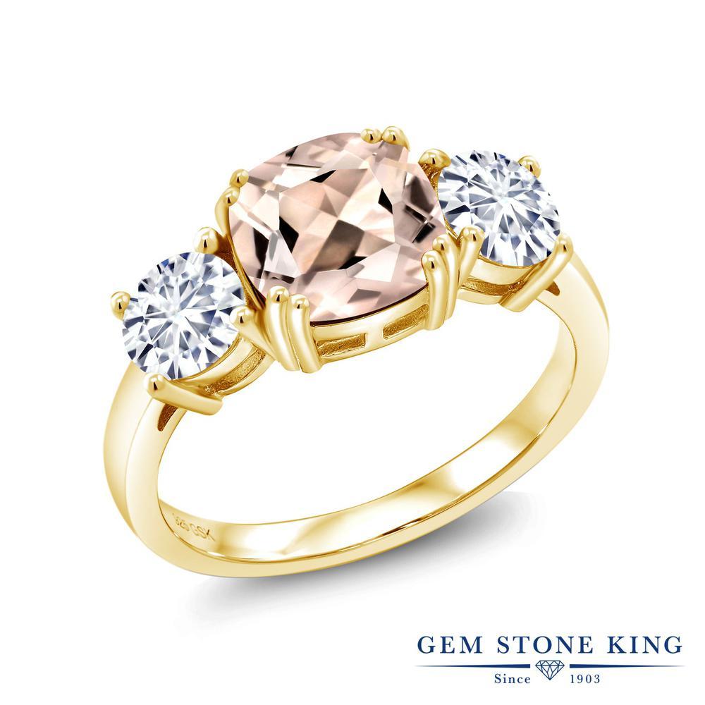 Gem Stone King 2.88カラット 天然 モルガナイト (ピーチ) モアッサナイト Charles & Colvard シルバー925 イエローゴールドコーティング 指輪 リング レディース 大粒 シンプル スリーストーン 天然石 3月 誕生石 金属アレルギー対応 誕生日プレゼント