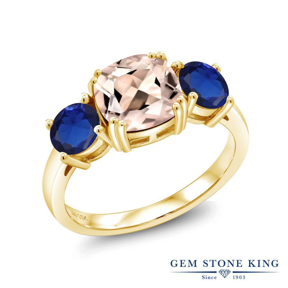 Gem Stone King 3.08カラット 天然モルガナイト(ピーチ) シミュレイテッドサファイア シルバー 925 イエローゴールドコーティング 指輪 リング レディース 大粒 シンプル スリーストーン 天然石 誕生石 金属アレルギー対応 誕生日プレゼント