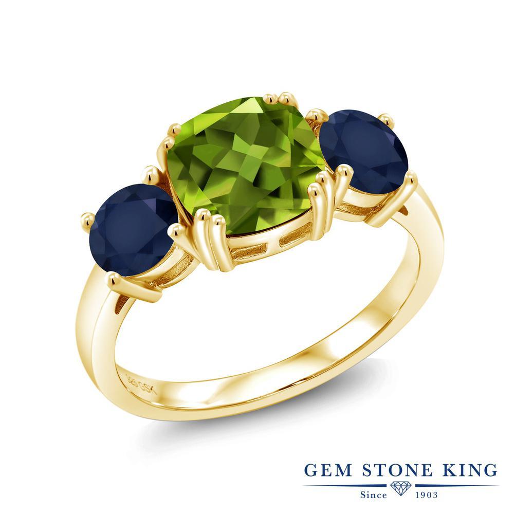 Gem Stone King 3.65カラット 天然石 ペリドット 天然 サファイア シルバー925 イエローゴールドコーティング 指輪 リング レディース 大粒 シンプル スリーストーン 天然石 8月 誕生石 金属アレルギー対応 誕生日プレゼント