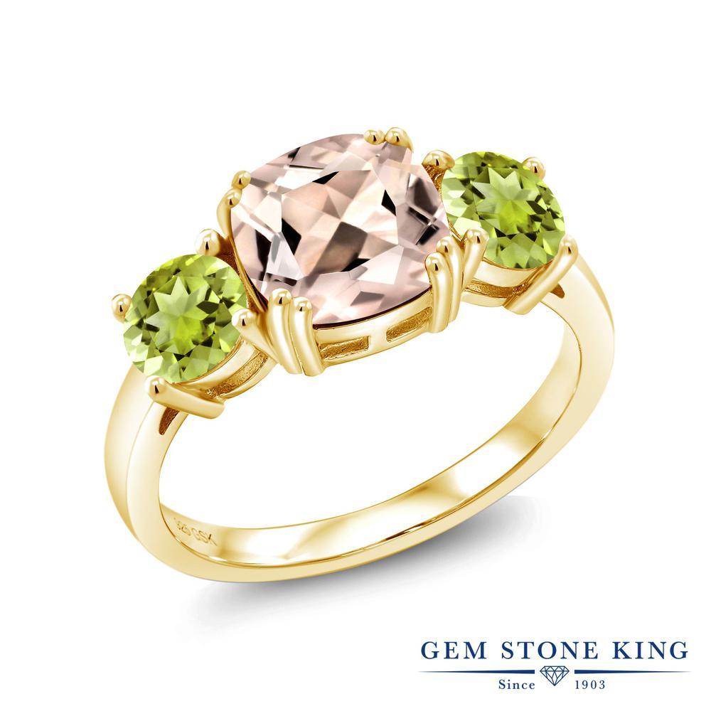 Gem Stone King 2.98カラット 天然モルガナイト(ピーチ) 天然石ペリドット シルバー 925 イエローゴールドコーティング 指輪 リング レディース 大粒 シンプル スリーストーン 天然石 誕生石 金属アレルギー対応 誕生日プレゼント