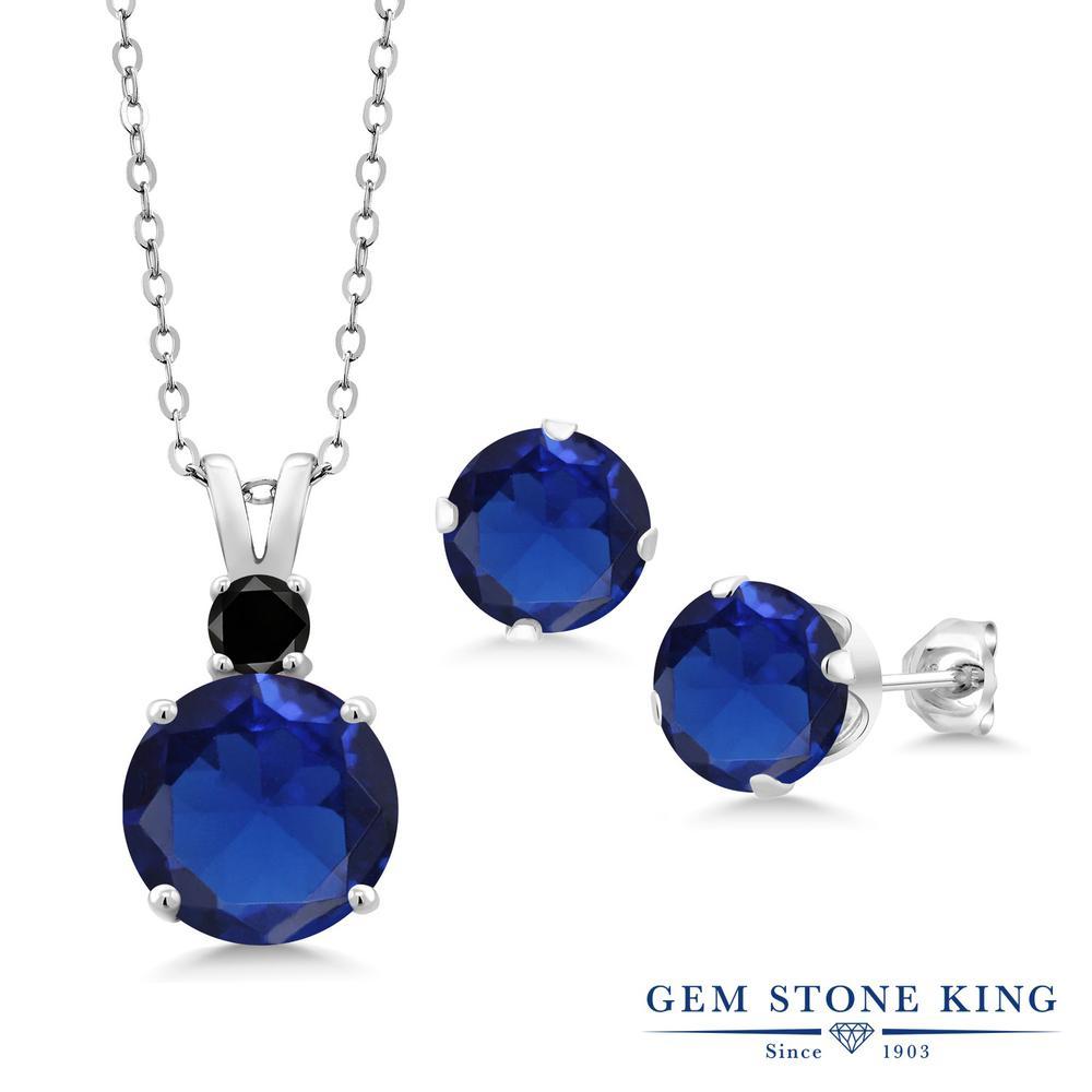 Gem Stone King 7.03カラット シミュレイテッド サファイア 天然ブラックダイヤモンド シルバー925 ペンダント&ピアスセット レディース 大粒 金属アレルギー対応 誕生日プレゼント