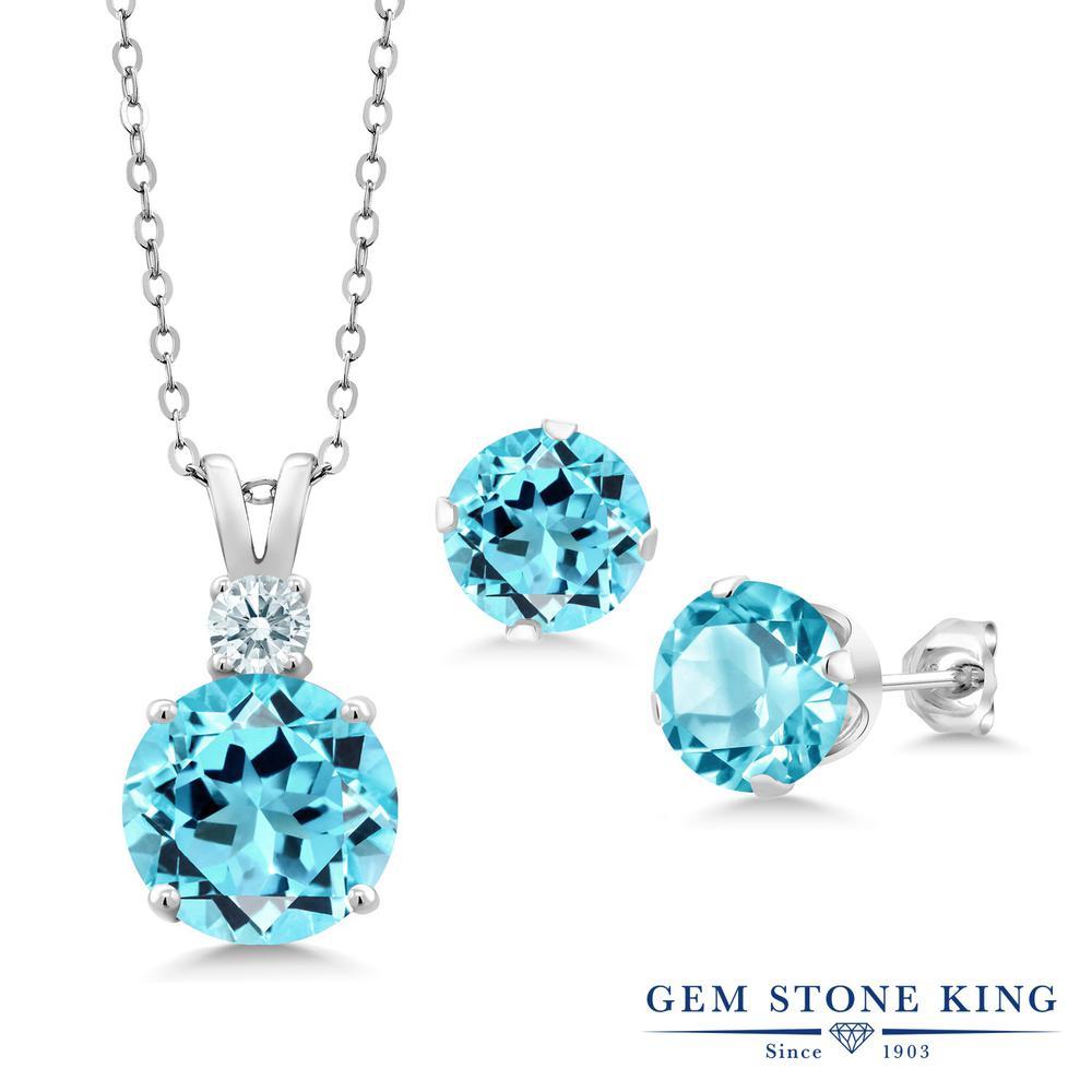 Gem Stone King 8.03カラット 天然 スイスブルートパーズ シルバー925 ペンダント&ピアスセット レディース 大粒 天然石 11月 誕生石 金属アレルギー対応 誕生日プレゼント