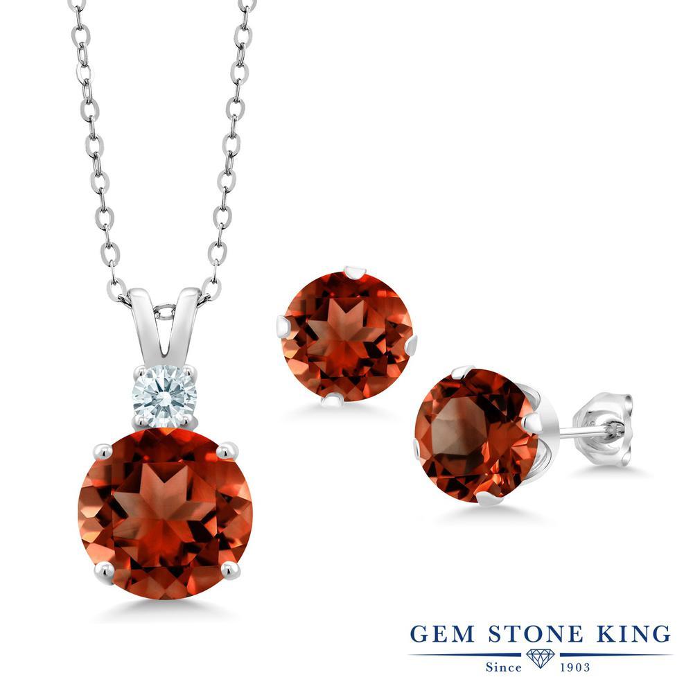 Gem Stone King 6.37カラット 天然 ガーネット シルバー925 ペンダント&ピアスセット レディース 大粒 天然石 1月 誕生石 金属アレルギー対応 誕生日プレゼント