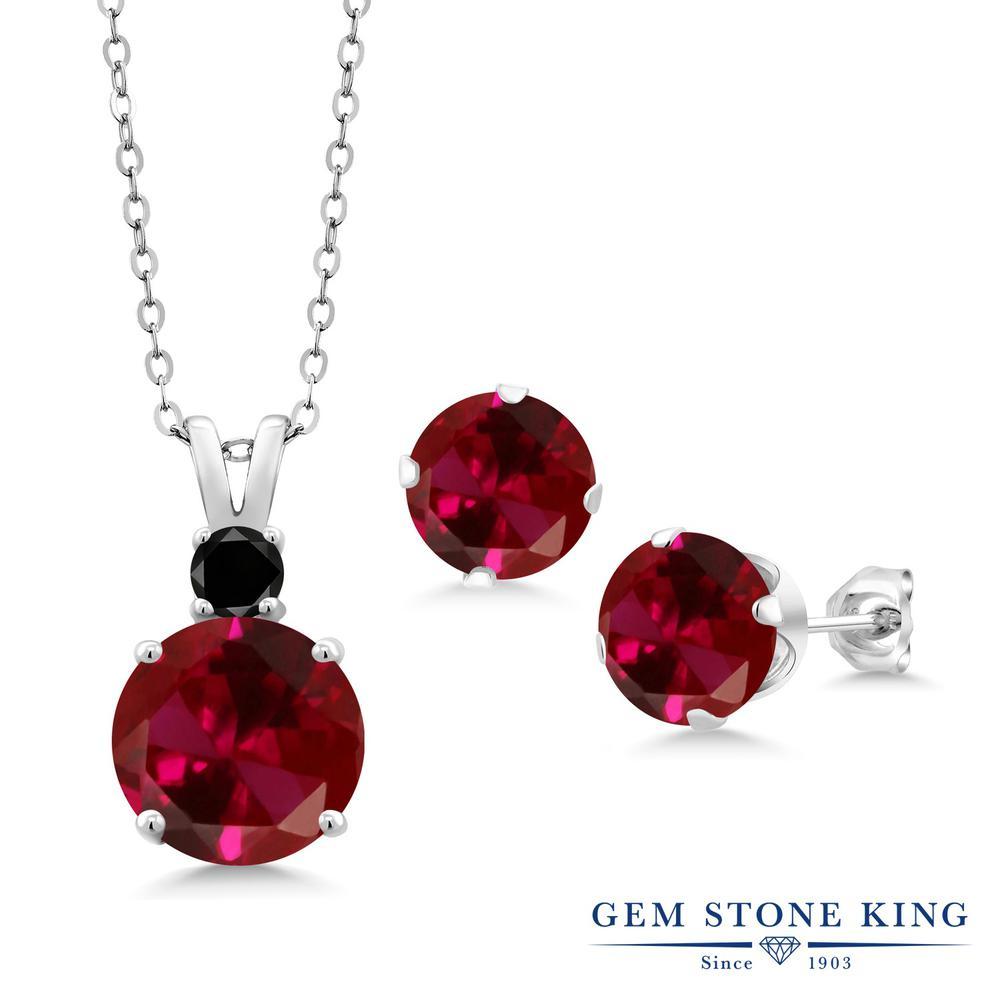 Gem Stone King 7.27カラット 合成ルビー 天然ブラックダイヤモンド シルバー925 ペンダント&ピアスセット レディース 大粒 金属アレルギー対応 誕生日プレゼント