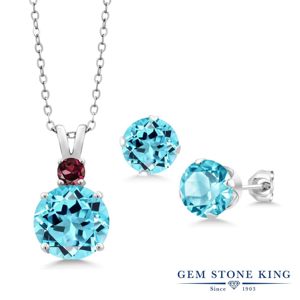 【クーポンで7%OFF】 Gem Stone King 8.08カラット 天然 スイスブルートパーズ シルバー925 ペンダント&ピアスセット レディース 大粒 天然石 11月 誕生石 プレゼント 女性 彼女 誕生日 クリスマス