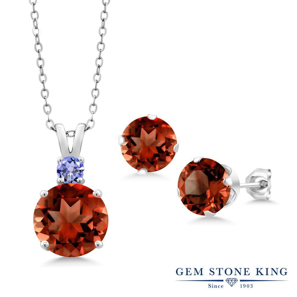 Gem Stone King 6.38カラット 天然 ガーネット シルバー925 ペンダント&ピアスセット レディース 大粒 天然石 1月 誕生石 金属アレルギー対応 誕生日プレゼント