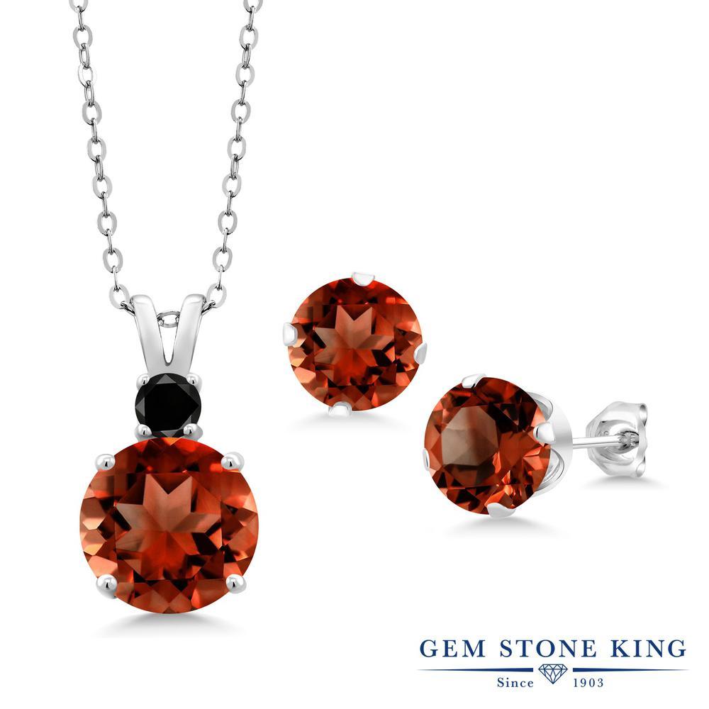 Gem Stone King 6.37カラット 天然 ガーネット 天然ブラックダイヤモンド シルバー925 ペンダント&ピアスセット レディース 大粒 天然石 1月 誕生石 金属アレルギー対応 誕生日プレゼント
