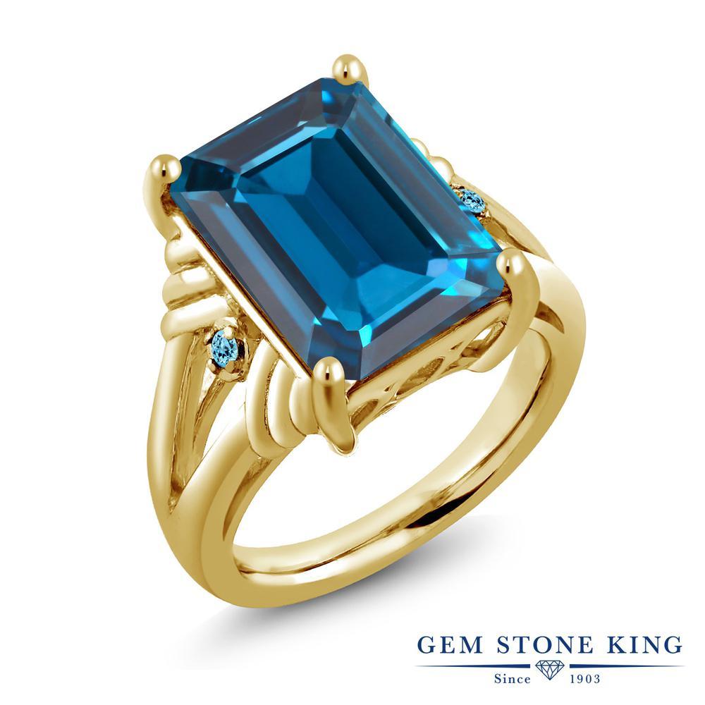 Gem Stone King 9.04カラット 天然 ロンドンブルートパーズ シミュレイテッド スカイブルートパーズ シルバー925 イエローゴールドコーティング 指輪 リング レディース 大粒 シンプル カクテル 天然石 11月 誕生石 金属アレルギー対応 誕生日プレゼント