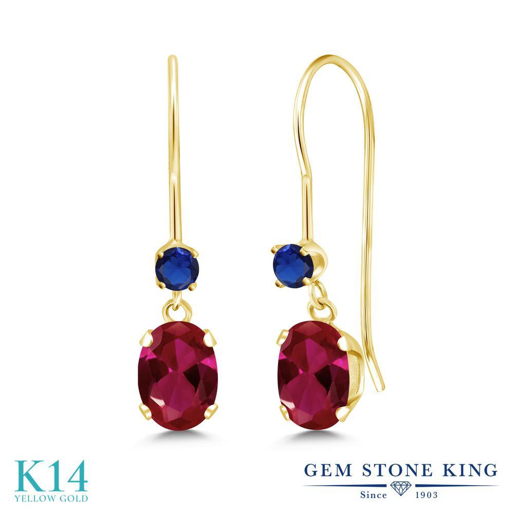Gem Stone King 2.1カラット 合成ルビー 14金 イエローゴールド(K14) ピアス レディース 大粒 ぶら下がり アメリカン 揺れる 金属アレルギー対応 誕生日プレゼント