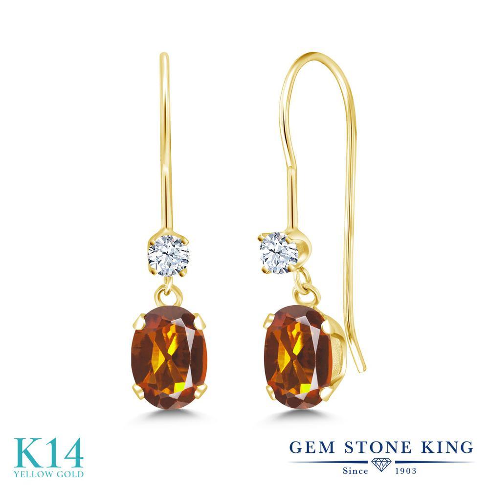 Gem Stone King 0.9カラット 天然 マデイラシトリン (オレンジレッド) 合成ホワイトサファイア (ダイヤのような無色透明) 14金 イエローゴールド(K14) ピアス レディース 小粒 ぶら下がり アメリカン 揺れる 天然石 金属アレルギー対応 誕生日プレゼント